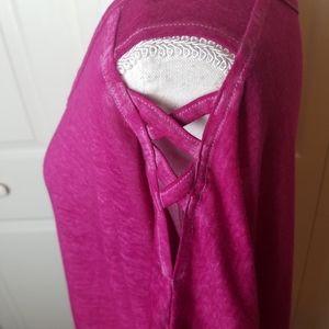 2X 20W 22W Top Purple Crisscross Cold Shoulder